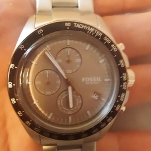 NEW Fossil 42mm chrono/tachy SS solid link watch